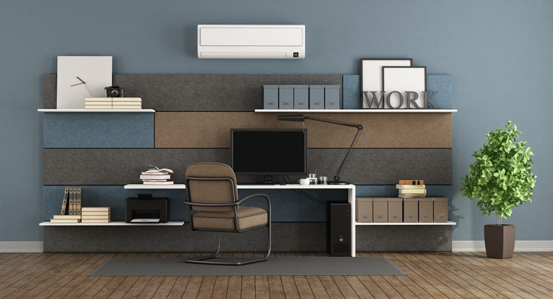 Blue and brown modern office with fabric paneling with shelves and desk 3d rendering.
