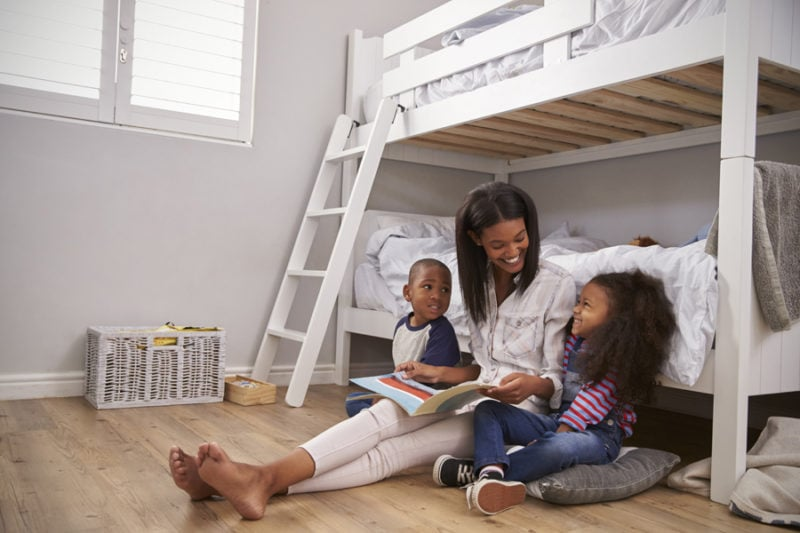 Indoor air quality UV lights family in home reading comfortably